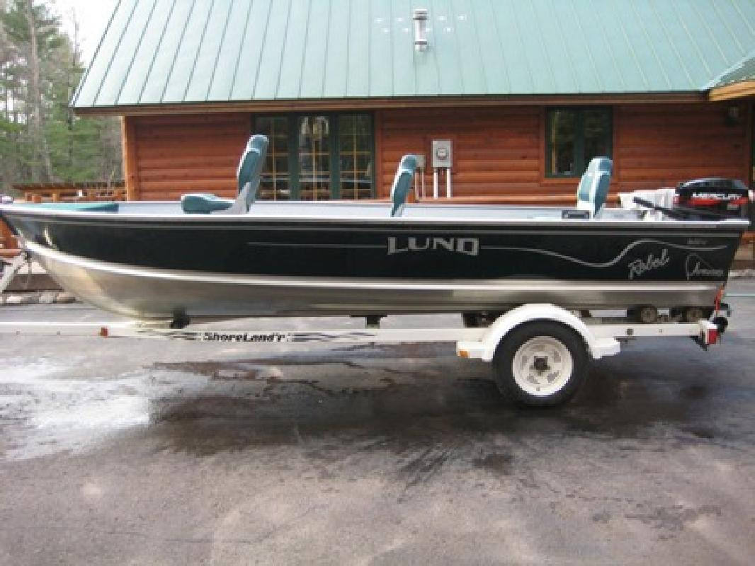 $1,900 2000 LUND 1650 REBEL FISHING BOAT,25 horse Mercury 2 stroke,trailer