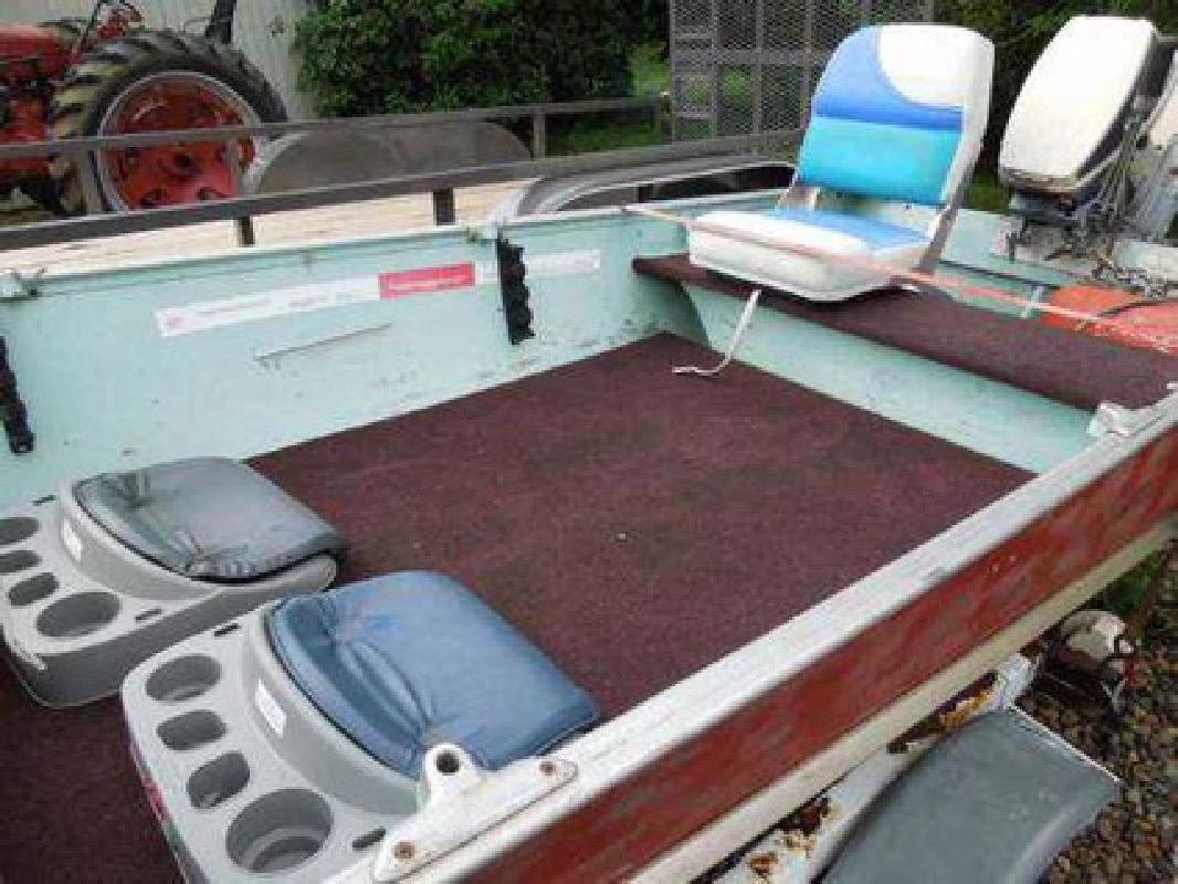 $995 1980 lund fishing boat, motor and trailer for sale in