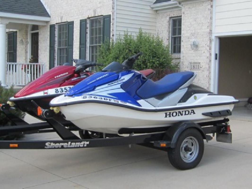 $3,100 Pair of 2005 AquaTrax Honda Jet Skis w/ Shore Land'r Trailer